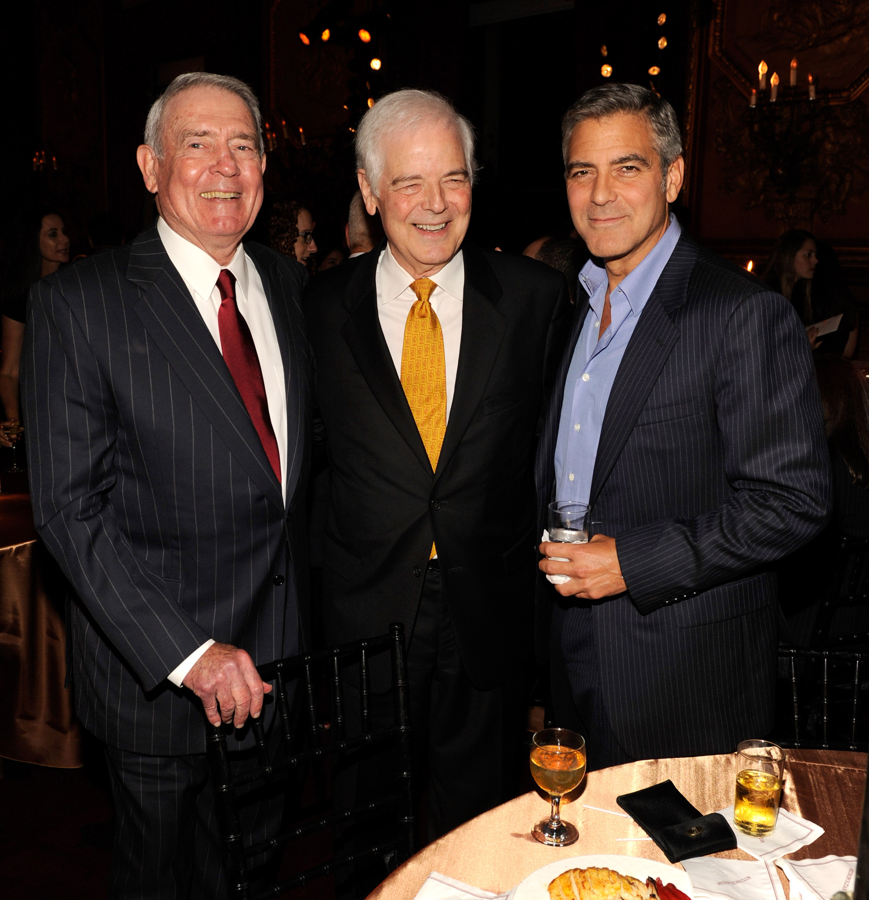 Dan Rather, Nick Clooney, and George Clooney at the The Ides of March afterparty.