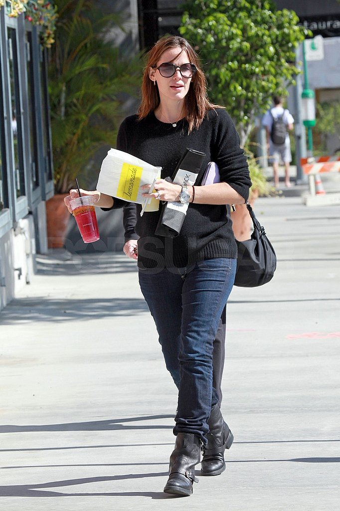 Jennifer Garner left with a baked good in her hand.