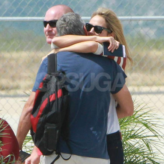 George Clooney and Stacy Keibler shared a romantic embrace in Mexico.