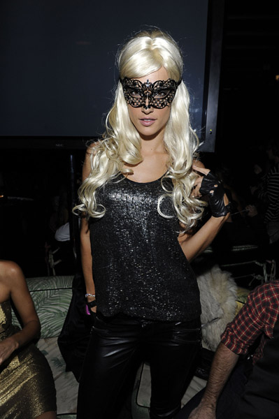 Supermodel Alessandra Ambrosio wore a blond wig and a sexy lace mask at a 2010 Halloween shindig in NYC.