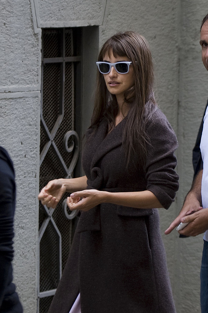 Penelope Cruz arrived on set wearing sunglasses.