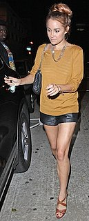 Lauren Conrad in Paper Crown Sweater and Leather Shorts