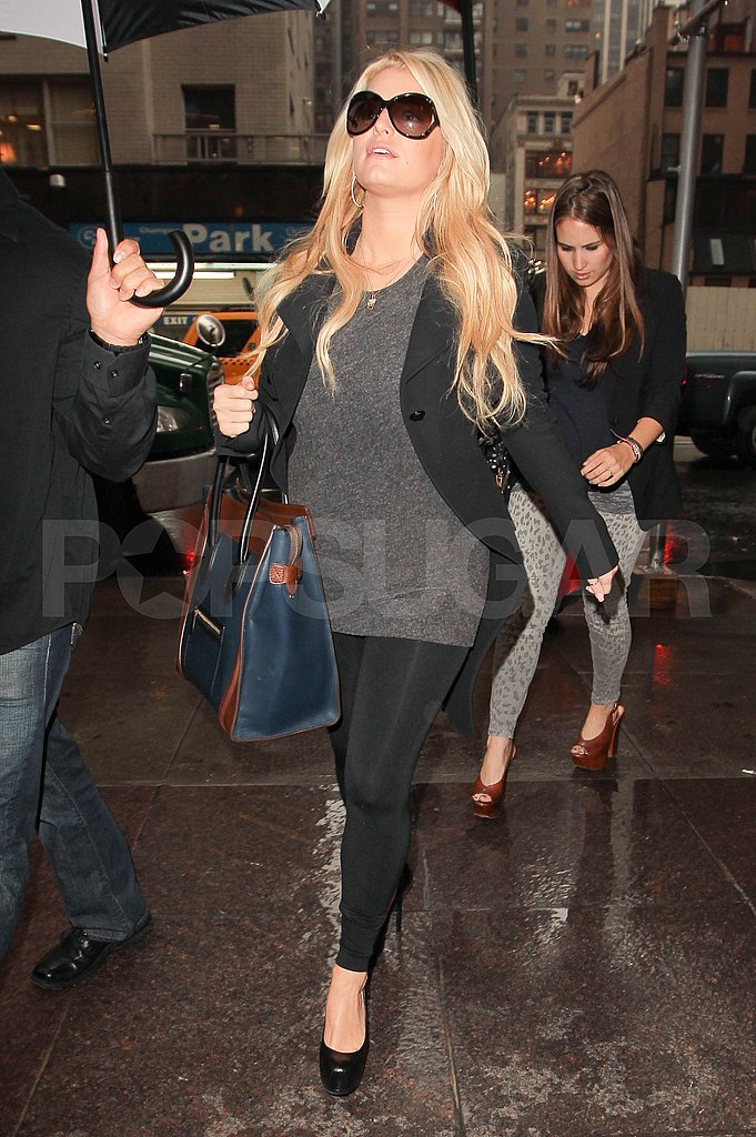 Jessica Simpson dressed for her changing shape.