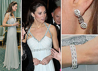 Pictures of Kate Middleton at the In Kind Direct charity event. See her Glam Amanda Wakeley Gown from All Angles