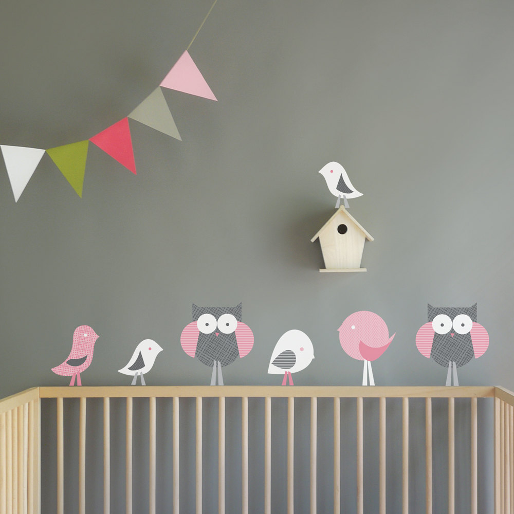 Gray and Pink Birds and Owls Nursery