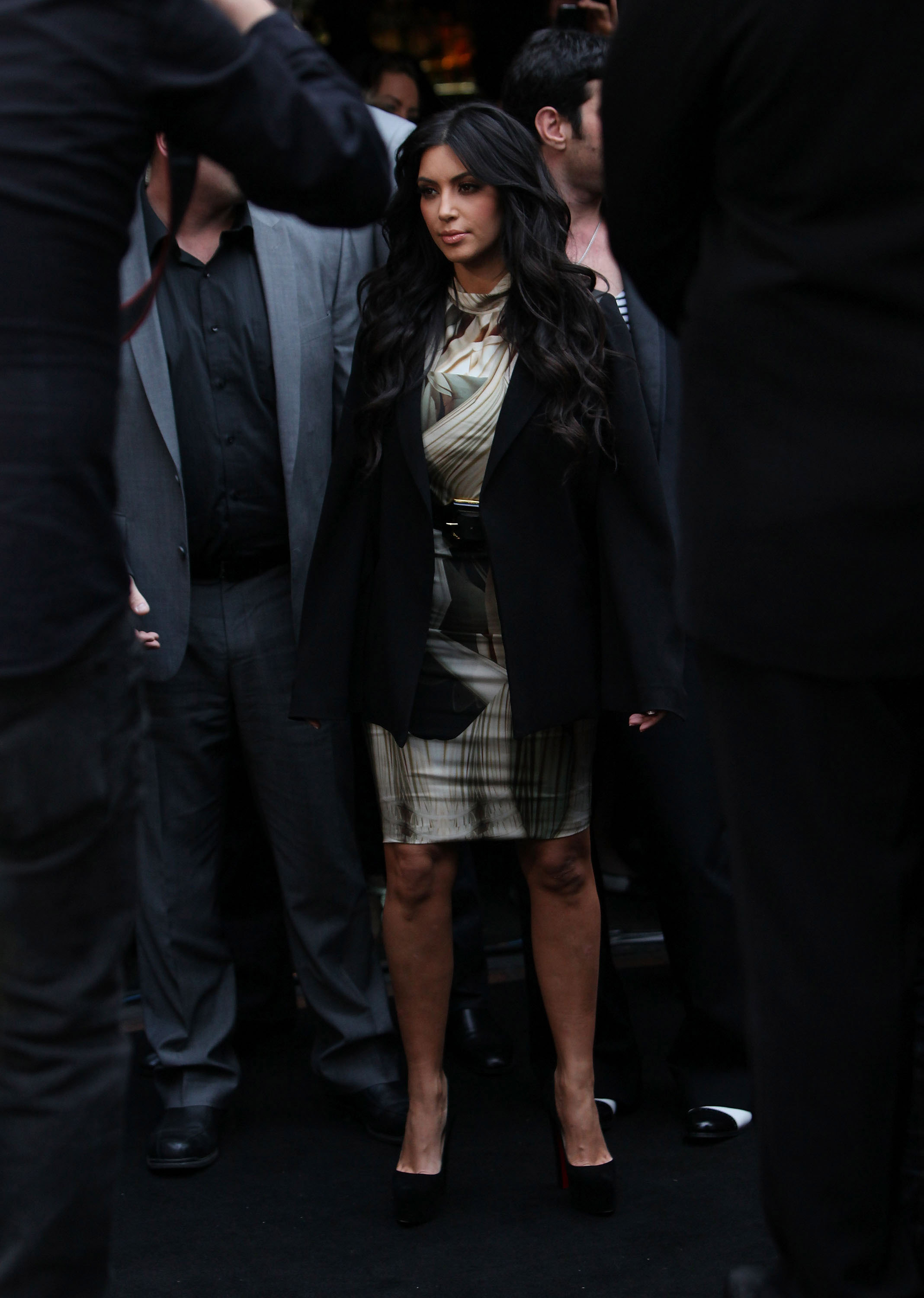 Kim Kardashian paused for photographers in Sydney.
