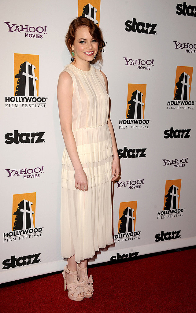 At the Hollywood Film Awards in 2011, Emma again showed that redheads can definitely pull off ivory hues — she looked gorgeous in this pleated Jonathan Saunders dress, and topped it off with a pair of pale pink Louboutins.