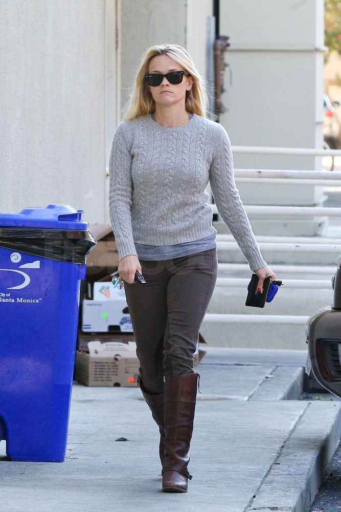 Reese dressed in preppy pieces for her busy day.