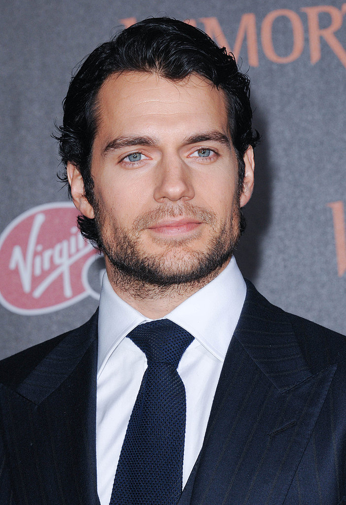 Henry Cavill slicked his hair back for the Immortals premiere.