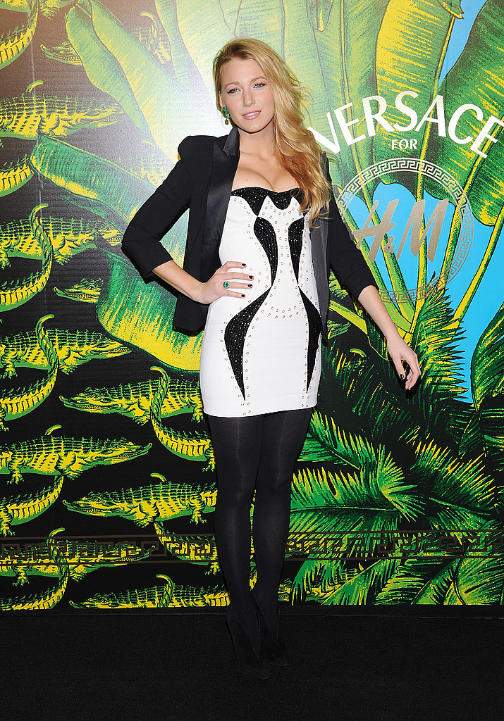 Blake Lively wore a white minidress to a Versace fashion show.