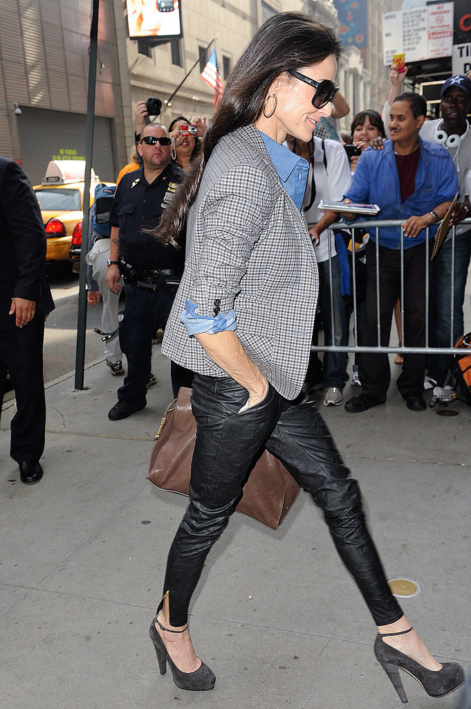 Casual-chic in leather pants and a blazer for an NYC appearance in 2011.