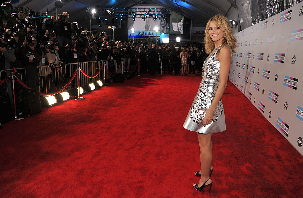 Heidi Klum wore silver to the American Music Awards.