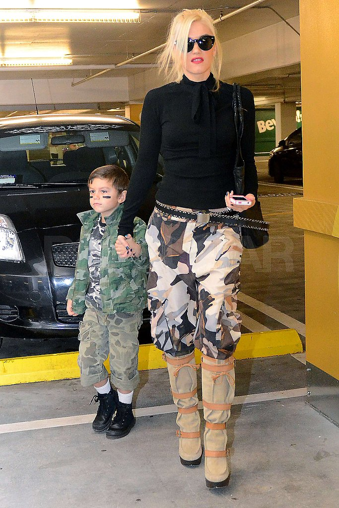 Gwen Stefani and Kingston Rossdale coordinated their prints.