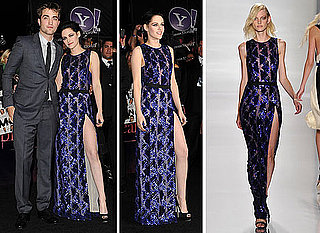 Pictures of Kristen Stewart Breaking Dawn: Part 1 Premiere in LA In J.Mendel Spring 2012 Sequinned Blue Gown Dress