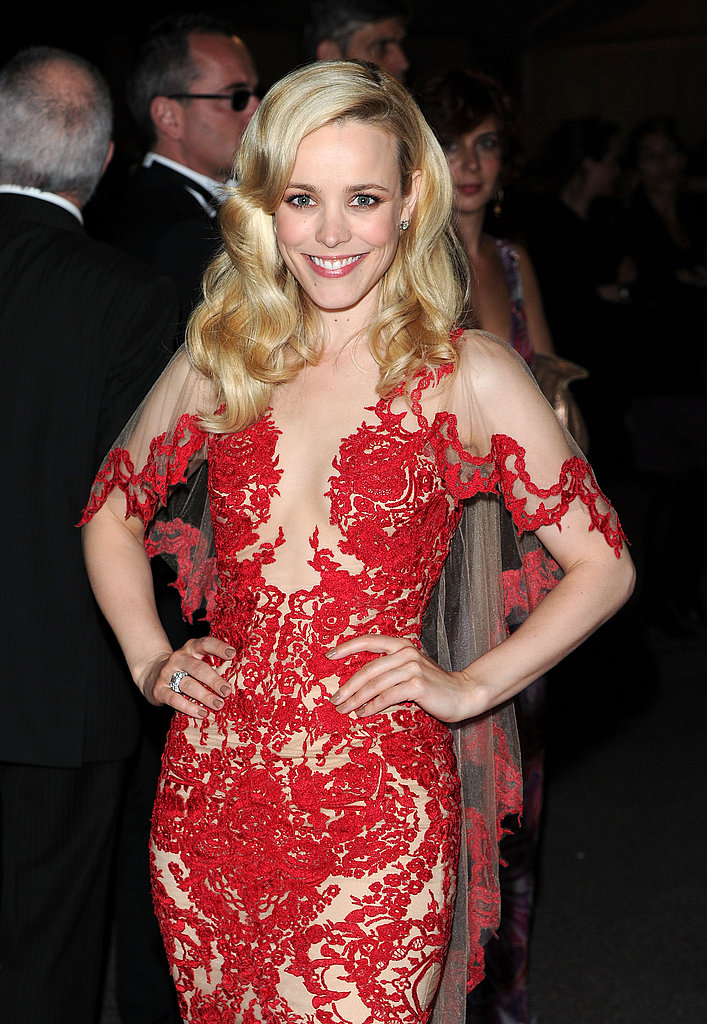 The actress wore a lacy red Marchesa gown at the Cannes Film Festival in 2011.