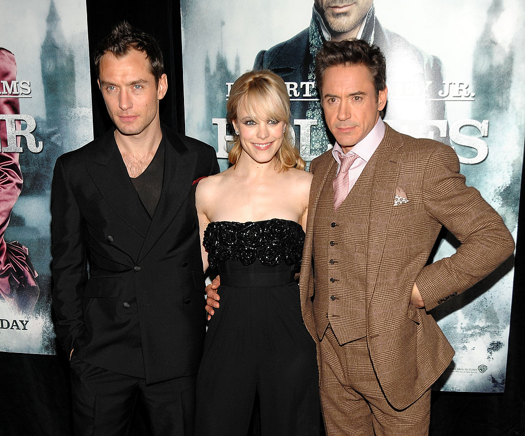 Rachel smiled big with Jude Law and Robert Downey Jr. at the Sherlock Holmes premiere in 2009.