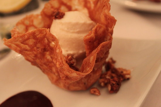 Macadamia Tuile, Coconut-Amaretto Ice Cream & Candied Hazelnuts