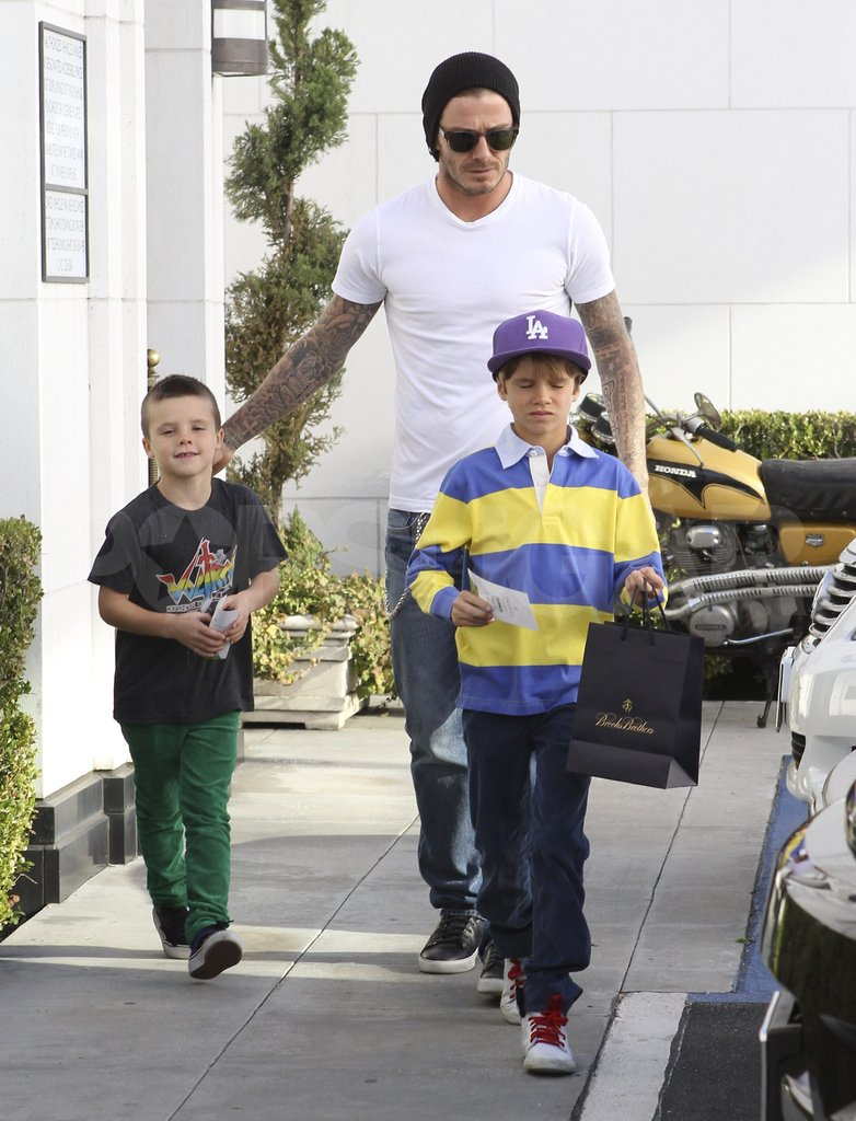 David Beckham shopped with his sons in LA.