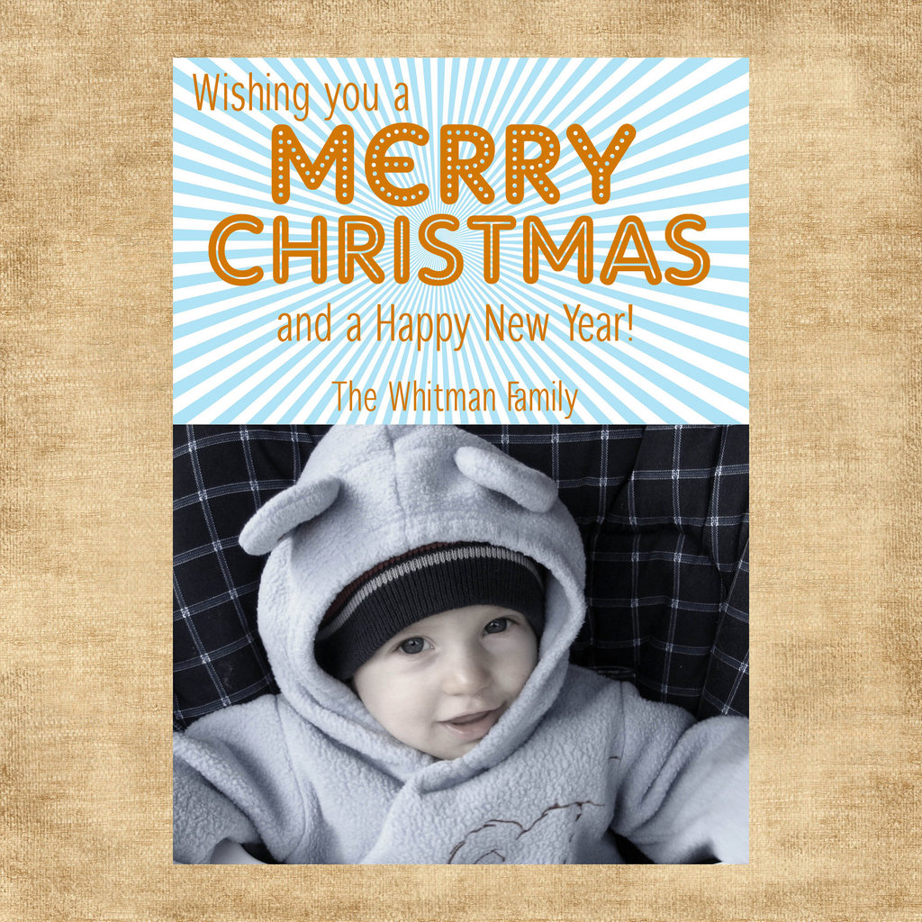 Bright Blue Striped Blast Personalized Christmas Card ($15 For Digital File)