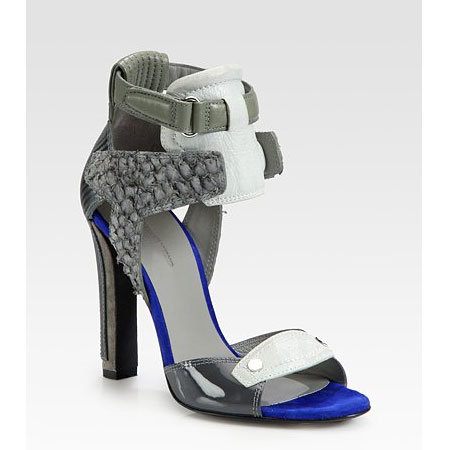 Chloe Patent Leather and Suede Sandals