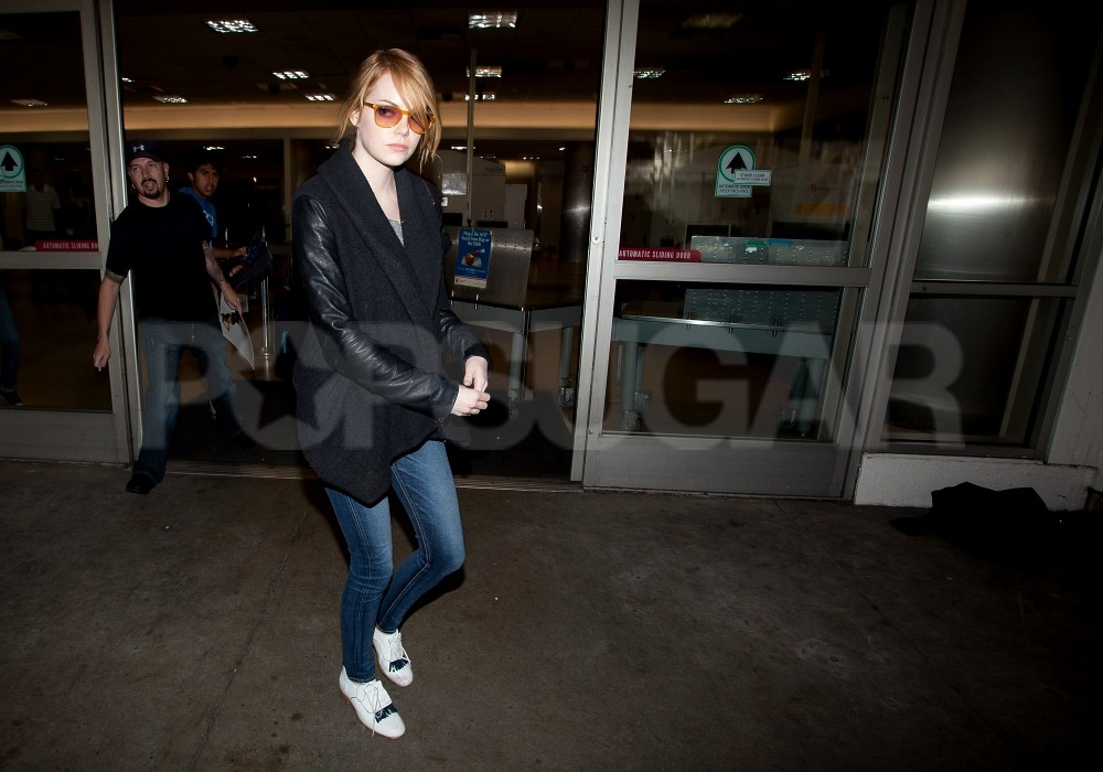 Emma Stone flew back to LA following the Thanksgiving weekend.