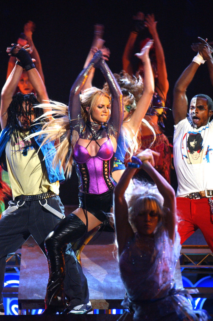 "Britney Spears danced to ""Me Against the Music"" at the 2003 American Music Awards."