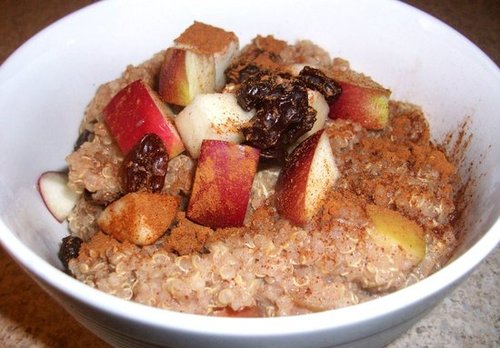 Apple walnut raisin breakfast quinoa