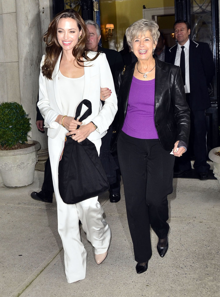 Angelina Jolie and Jane Pitt linked arms leaving their morning appointment.