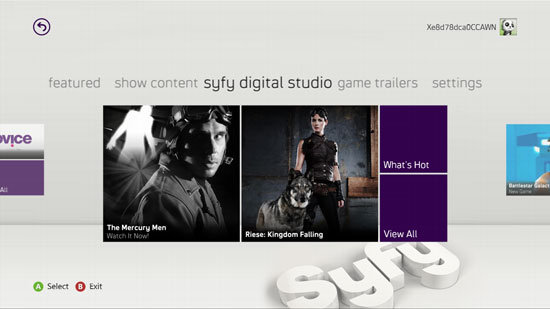 SyFy is one of the new media partners on Xbox Live.