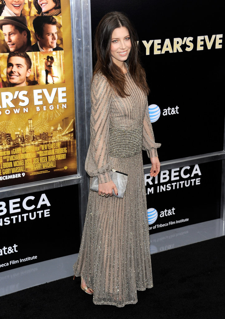 Jessica Biel wore Valentino to the premiere.