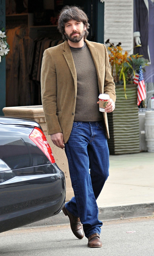 Ben paired a casual corduroy jacket with jeans.