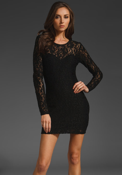 Posh with sexy undertones, thanks to sheer, lacy sleeves and a curve-hugging fit.  Motel Elsa Rose Lace Dress (approx $79