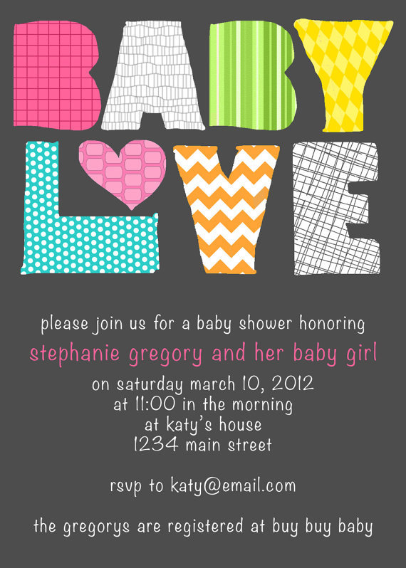 Printable Baby Love Modern Baby Shower Invitation ($12)