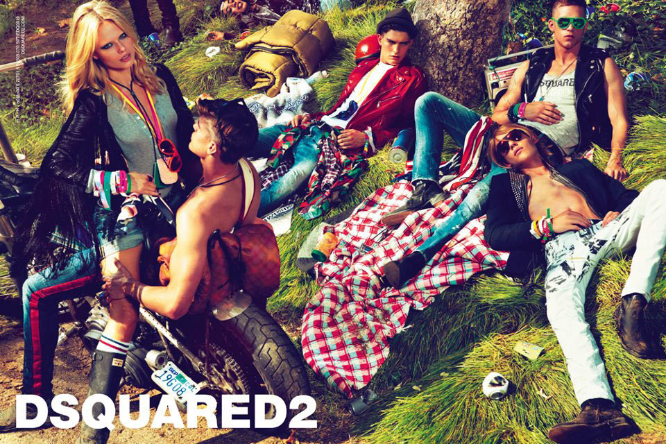 The Dsquared2 Spring '12 ad looks like a racy version of Woodstock. Source: Fashion Gone Rogue
