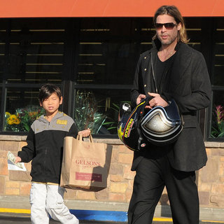Brad Pitt With Pax in a Sidecar Motorcycle Pictures