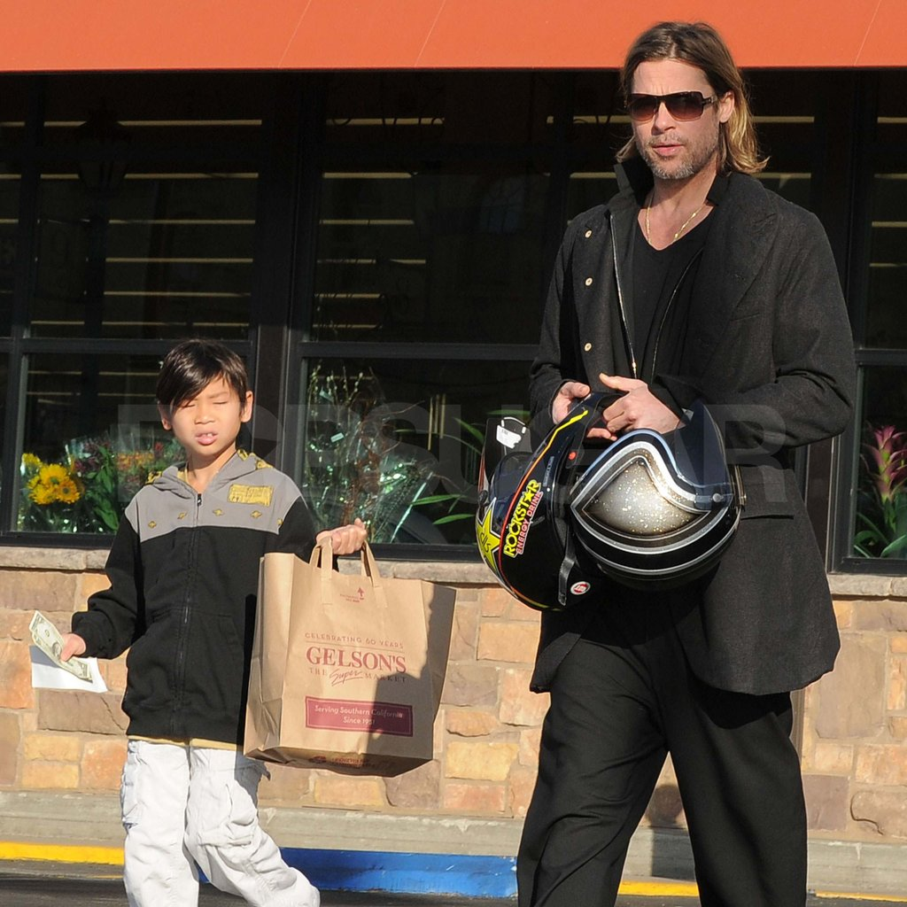 Brad Pitt with Pax at Gelson's.