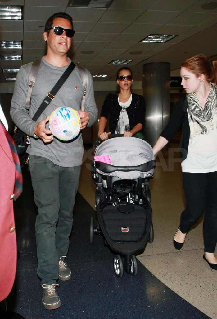 Jessica Alba at LAX with Cash Warren, Haven, and Honor.