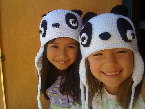1 Panda Aviator Ski Hat Handcrocheted One Size by TheChocolateCafe