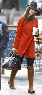 Pippa Middleton in Orange Zara Coat, Russell & Bromley Boots
