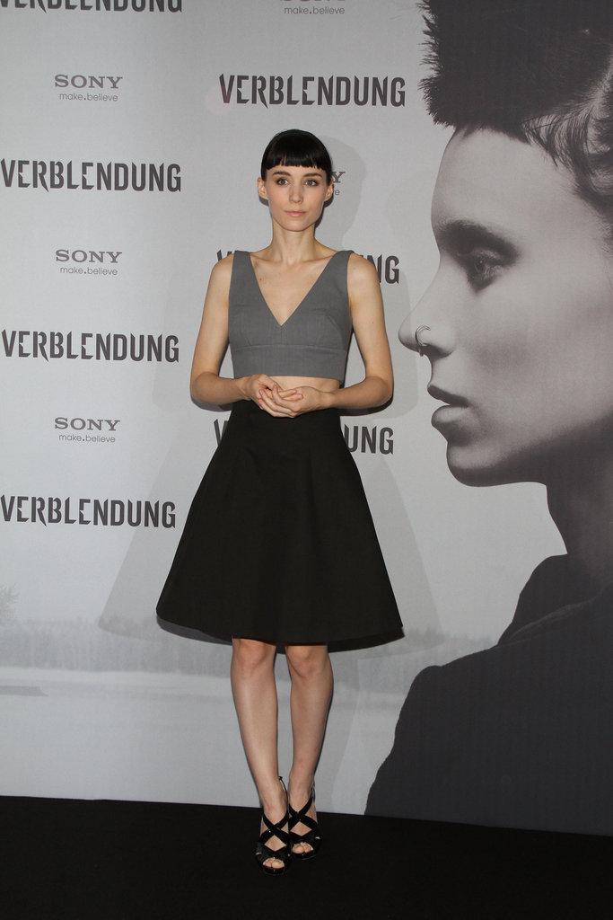 Rooney Mara went for a neutral palette of black and gray.