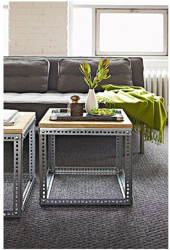 Lowe's has the lowdown on making these industrial side tables. Source: Lowe's