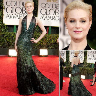 Evan Rachel Wood Wears a Peacock-Inspired Gucci Premiere at the 2012 Golden Globes