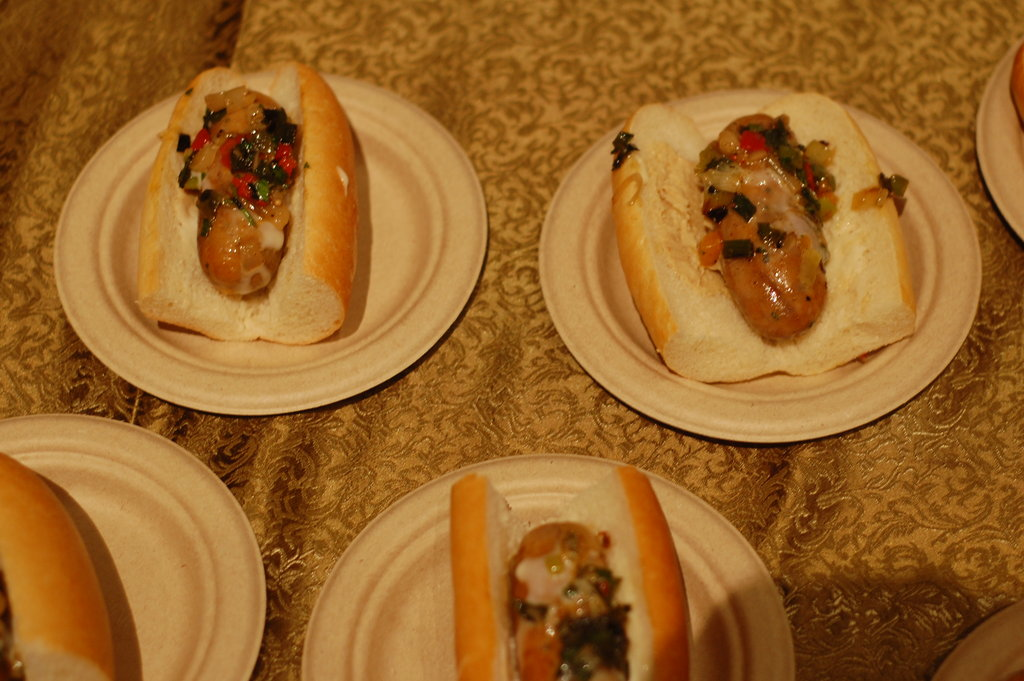 The best thing we ate all night: smoked bratwurst served up by Adam Keough of Absinthe.