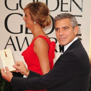 George Clooney and Stacy Keibler Red Valentino Dress Pictures at 2012 Golden Globes