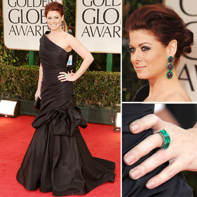 Debra Messing in a black Monique Lhuillier dress at the 2012 Golden Globes