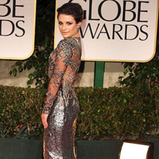 Lea Michele Wears a Metallic Marchesa Gown on the Red Carpet at the 2012 Golden Globes