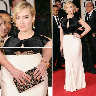 Kate Winslet Wears Black and White Jenny Packham Gown at the 2012 Golden Globe Awards
