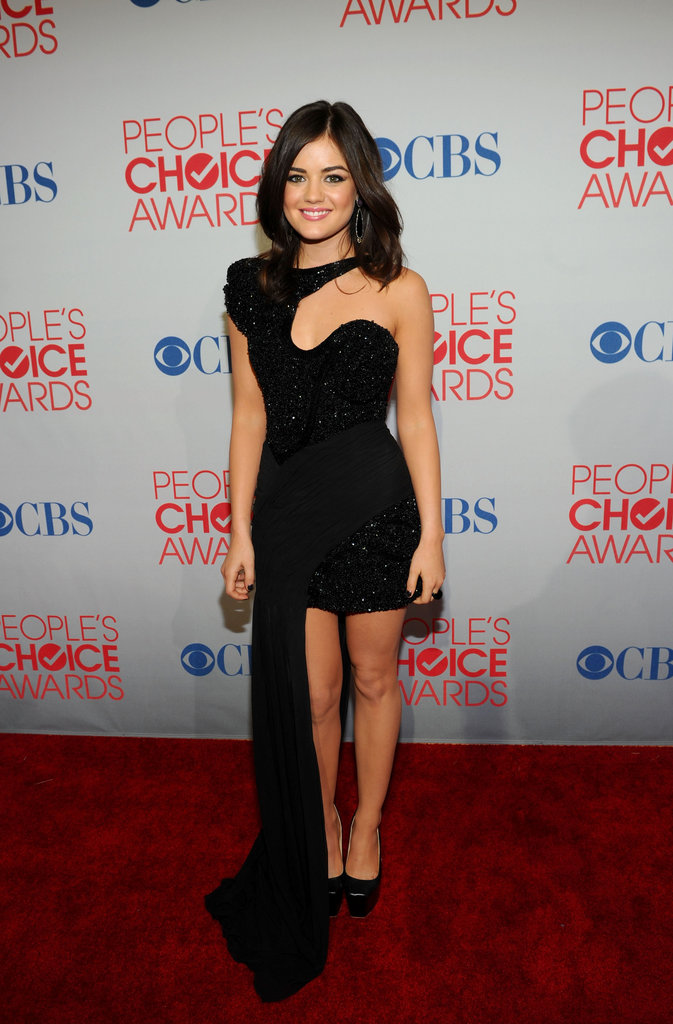Lucy Hale in a black gown at the People's Choice Awards.