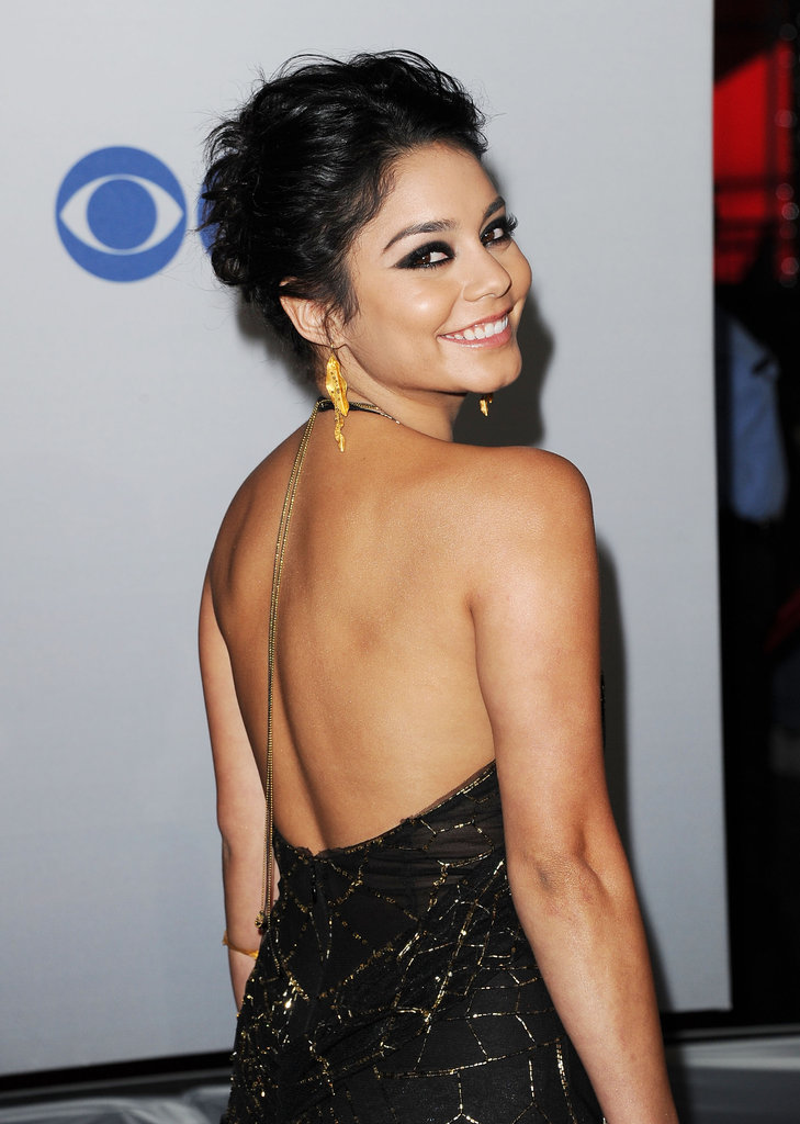 Vanessa Hudgens smiled in her backless dress.