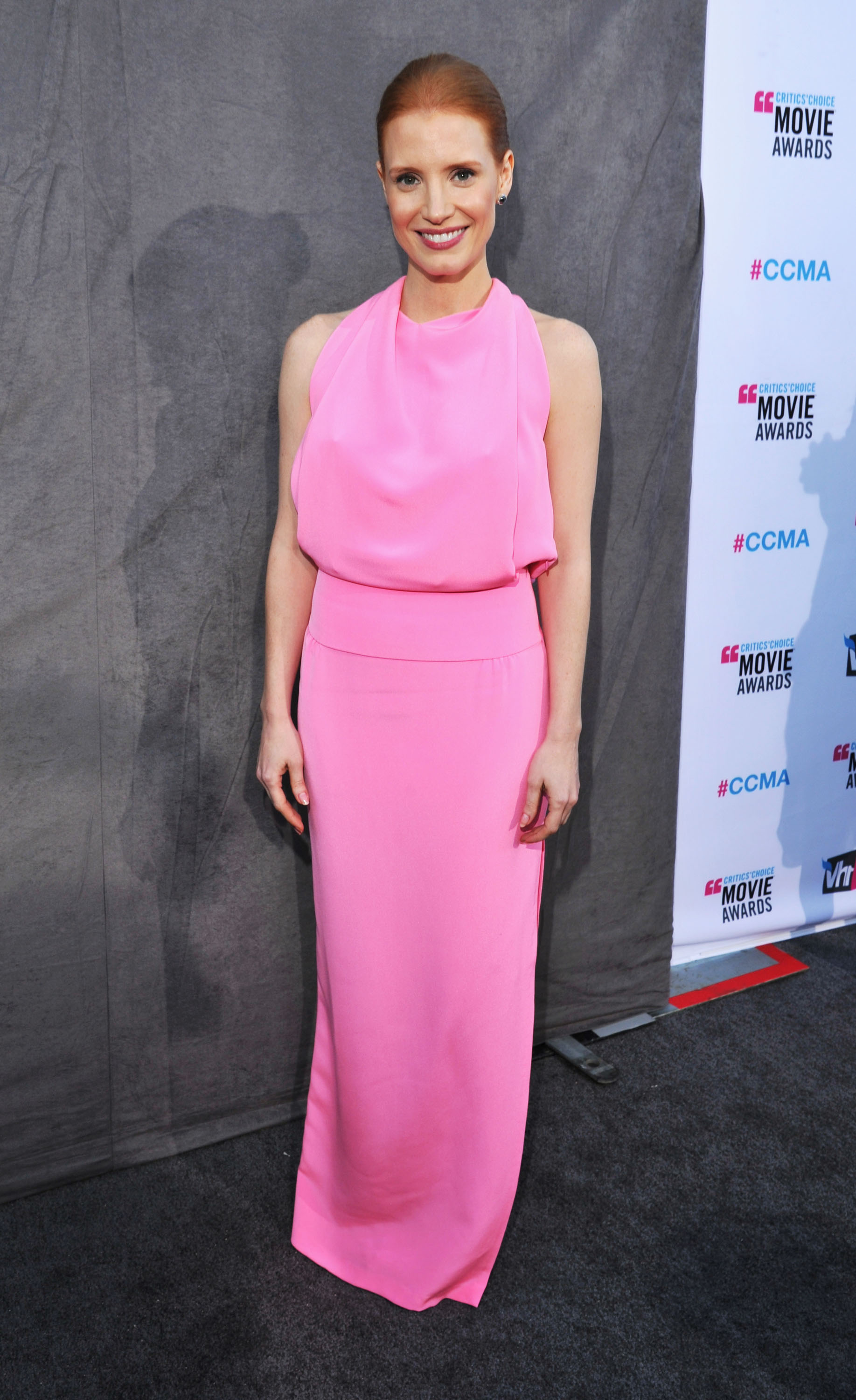 Jessica Chastain was in a pink dress at the 2012 Critics' Choice Movie Awards.